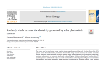 Southerly winds increase the electricity generated by solar photovoltaic systems